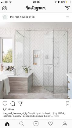 Clean and simple traditional bathroom from featuring a clean white chevron tile along with a wood porcelain… Chevron Bathroom, Chevron Tile, White Bathroom Tiles, Bathroom Renos, Bathroom Renovations, Modern Bathroom, Small Bathroom, Bathroom Interior, Master Bathroom