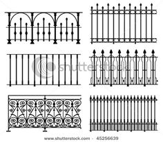 I think it would be elegant to place wrought iron railings along the lower half of a wall like wainscoting in a dining room. I wouldn't want such a picketed pattern as those pictured, more swirly and floral like the lower left hand pattern.