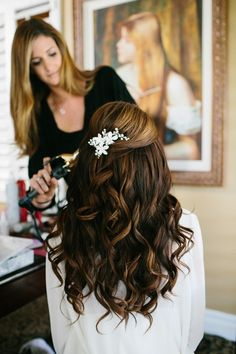 wedding hair style j(half up half down) with accessory