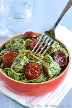 Pesto Zucchini Pasta with Chicken and Tomato - and a Recipe for Homade Basil Pesto. (notenoughcinnamon)