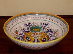 Decorative Arts Motivated Berry Bowl Deruta Italy Majolica Handpainted Red Rooster