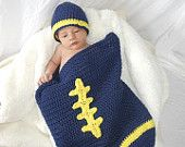 U of M Football cocoon and hat Photo Prop, Crochet, Blue and Yellow, FREE SHIPPING