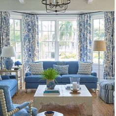A blue and white room in Coastal Blues that I decorated for great clients. A blue and white room in Coastal Blues that I decorated for great clients. A blue and white room in Coastal Blues that I decorated for great clients. Coastal Curtains, Coastal Bedrooms, Coastal Living Rooms, Coastal Decor, Living Room Decor, Coastal Cottage, Coastal Entryway, Cottage Farmhouse, Coastal Style