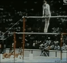 Nadia Comaneci | Uneven Bars | Dismount | 1976 Olympics OUCH!!!