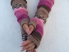 Knit Fingerless gloves Knitted Fingerless Mittens  by CELINICRAFTS