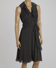 Take a look at the SL Fashions Black & White Ruffle Waist-Tie Sleeveless Dress on #zulily today!