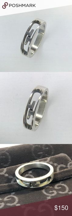 095ee0d42 GUCCI 925 silver Interlocking GG ring size 6.5 Beautiful cutout engraved  GUCCI logo ring. Some