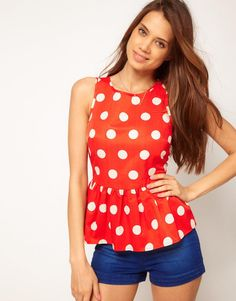 ASOS | ASOS Sleeveless Top With Spot Print And Peplum at ASOS