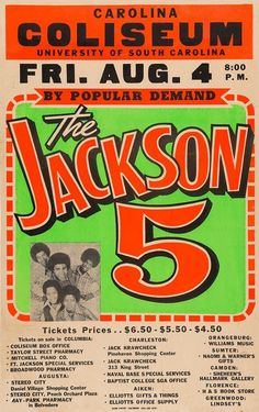 The Jackson 5 Price Tickets, University Of South Carolina, Jackson 5, Shopping Center, Back In The Day, Pharmacy, Music Posters, Waiting, Band