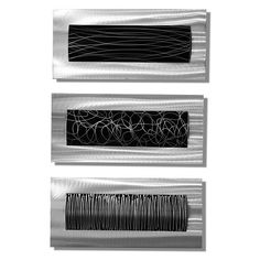 3 Piece Black & Silver Etched Modern Metal Wall Accent by Jon Allen -Trifecta - Metal Wall Sculpture, Modern Sculpture, Wall Sculptures, Black Metal, Black Silver, Abstract Metal Wall Art, Abstract Art, Flur Design, Nails And Screws
