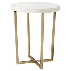 Accent Table: Threshold Round Accent Table - White and Gold - Target - $69.99 - domino.com