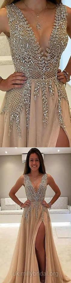 Long Prom Dresses Luxury, Gold Prom Dresses 2018, A-line Prom Dresses V-neck Chiffon with Beading
