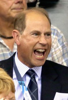Prince Edward, Earl of Wessex watches Scotland win Gold with Craig McLean and Neil Fachie in the Para Sprint at the Sir Chris Hoy Velodrome during the Commonwealth games on July 26, 2014 in Glasgow, Scotland.