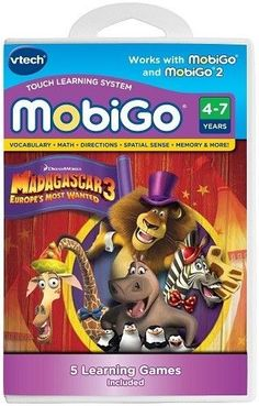NEW vtech MobiGo Touch Learning System Madagascar 3 Ages 4-7 #VTech