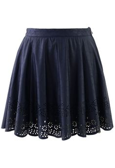 Blue Faux Leather Skirt with Cut Out Detail ....would like this a bit longer...but LOVE the hem detail...