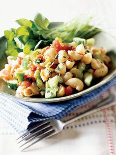 Just like the soup it is named after, this side-dish pasta salad is full of tomatoes, sweet pepper, and cucumber.