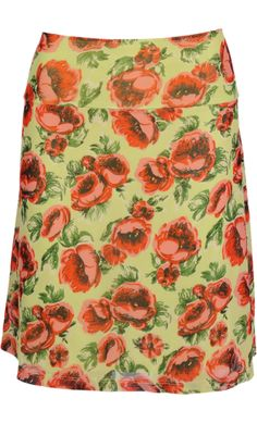 Vintage inspired summer skirt with flowers in green - King Louie SS2014