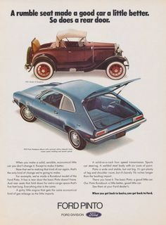 1972 Ford Pinto Runabout Car Ad 1931 Model A Roadster Automobile Photo Vintage Advertising Print, Wall Art Decor