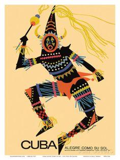 Cuba - Alegre Como Su Sol (Cheerful as Her Sun) - Native Folk Dancer Julisteet tekijänä Luis Vega De Castro AllPosters.fi-sivustossa