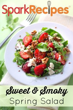 Bitter Spring Greens Salad with Pecans and Strawberries. This is sooo good! I love adding a little extra dried fruit, too! | via @SparkPeople #salad #spring #healthyeating #recipe