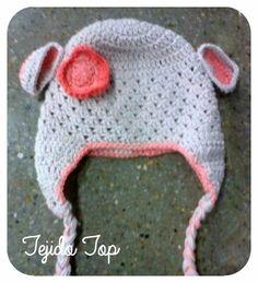 Gorro tejido a Crochet de Niña, disponible en lana y algodón.
