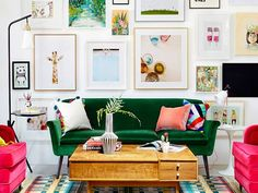Color is one of the easiest ways to shift the energy in your space with feng shui. Each color is an expression of a feng shui element, and each color can bring good feng shui into your space if you know how to use it. Green Velvet Sofa, Green Sofa, Velvet Chairs, Blue Velvet, Home Living Room, Living Room Decor, Living Spaces, Studio Living, Red Couch Living Room