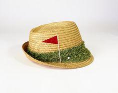 Vintage 1950's 60's Straw Fedora / Novelty Golf / by fourBvintage