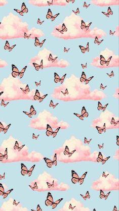 Trippy Wallpaper, Cartoon Wallpaper Iphone, Iphone Wallpaper Tumblr Aesthetic, Homescreen Wallpaper, Iphone Background Wallpaper, Retro Wallpaper, Aesthetic Pastel Wallpaper, Pastell Wallpaper, Blue Butterfly Wallpaper