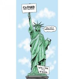 Government Shutdown Statue of Liberty ❤ Cartoon