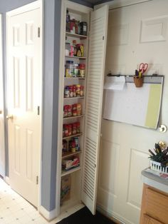 Created a spice cabinet at the end of my pantry. It was wasted space so we used the space between the 2 studs. Added drywall, some shelves and a great spice cabinet. We also did one in my daughters bathroom for all of her STUFF!!!