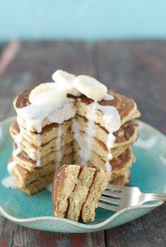 Banana-Macadamia Nut Pancakes with Coconut Syrup