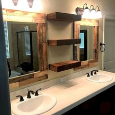 39 Rustic Bathroom Ideas For Upgrade Your House, Bathroom decor, Modern Farmhouse Bathroom, Rustic Bathrooms, Rustic Bathroom Mirrors, Rustic Master Bathroom, Bathroom Fixtures, Mirrors In Bathrooms, Bathroom Mirror Shelves, Country Style Bathrooms, Farmhouse Mirrors
