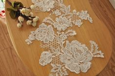 Alencon Lace Applique in Ivory for Wedding  Gowns by Retrolace