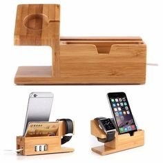Bamboo Charging Stand Dock / Charging Holder For Apple Watch /Iphone + Usb Ports
