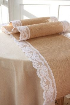 SALE Burlap and Lace table runner. Sealed end so by SerenasForever, $6.00