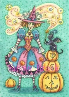ABRACADABRA - Your fairygodcat will grant your wish on Hallow's Eve.  Susan Brack Original Art Holiday EBSQ CP Licensing