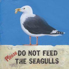 Een mooi houten decoratief bordje met de Engelse tekst: Please, do not feed the seagulls. Inclusief juten ophangkoordje. Formaat: ongeveer 30 x 30 cm.