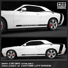 Dodge Challenger 2008-2019 Solid CUDA Side Stripes Decals Choose Color