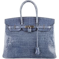 Pre-owned Herm?s Crocodile Birkin 35 (11.610.390 HUF) ❤ liked on Polyvore featuring bags, handbags, blue, hermes purse, preowned handbags, handbag purse, kiss-lock handbags and crocodile handbags