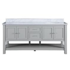 Foremost, Gazette 72 in. Vanity in Grey with Marble Vanity Top in Carrara White and Double Sink Basins, GAGAT7222D at The Home Depot - Mobile