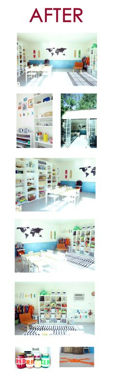 Really cool before and after kids art studio transformation