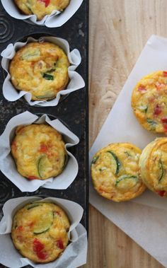 Mini Frittata (sub out zucchini for tomatoes add goat cheese).  Great to make the night before and bring to work!
