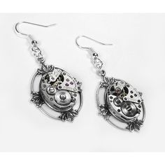 Steampunk Earrings Vintage Ruby Jeweled Watch by edmdesigns found on Polyvore
