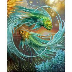 Zhui Star Diy Diamond Painting Cross Stitch Fantasy Fish Painting Full Diamond Embroidery Square Diamond Mosaic Home Decor Carpe Koi, 5d Diamond Painting, Cross Paintings, Arte Pop, Fish Art, Colouring Pages, Free Coloring, Adult Coloring, Coloring Books