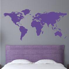 Wall Decal 44W World Map Wall Vinyl Decal Sticker by Zapoart, $29.00