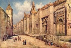 SPAIN: Cordoba-Outer Wall of the Mosque, old print, 1908