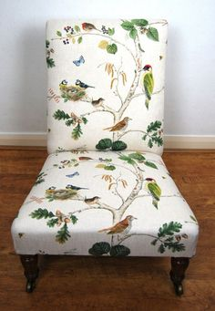 Quality Late Victorian Gillow & Co Nursing / Bedroom Chair in Sanderson fabric - Sold by The Sitting Place Sanderson Fabric, Bedroom Chair, Best Nursing Chair, Chair Reupholstery, Victorian, Antiques For Sale, Repurposed Furniture, Accent Chairs, College