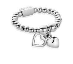 ChloBo Two Tiny Hearts Ring - Silver main image Heart Bracelet, Heart Jewelry, Heart Ring, Jewelry Rings, Bracelet Charms, Jewelery, Silver Charms, Silver Jewelry, Silver Rings