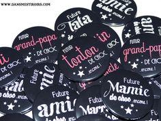 Badges pour annoncer sa grossesse de manière originale ! Faits par www.dansmestiroirs.com