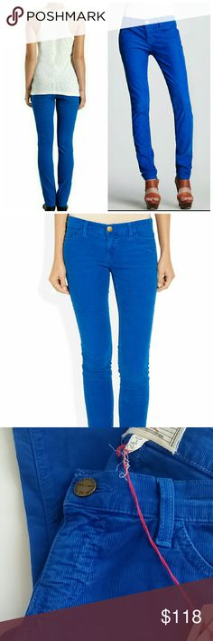 "Current/Elliott The Skinny Electric Blue Cords NWT. Gorgeous soft corduroys in electric blue. Skinny jean, cropped at the ankle. Sits at the hip. 98% Cotton, 2% Elastane.  Rise: approx 6.5"" Inseam: approx 32.5""  **Bundles receive 20% off + a free gift!** Current/Elliott Pants Skinny"